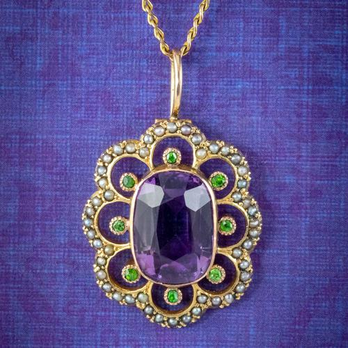 Antique Edwardian Suffragette Pendant Necklace Amethyst Peridot Pearl 9ct Gold c.1910 (1 of 8)
