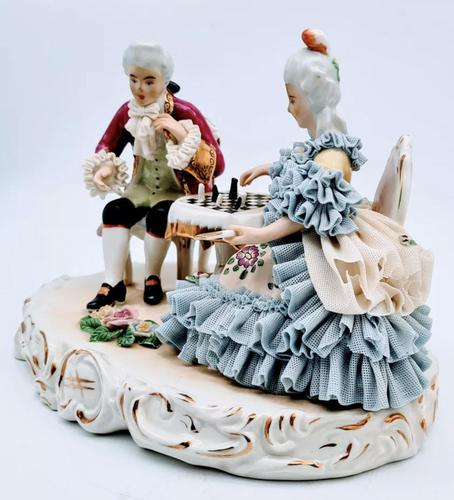 Dresden Germany Figurine Sculpture of Couple Playing Chess (1 of 6)