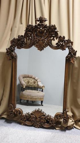 Large Carved Oak Mirror (1 of 5)