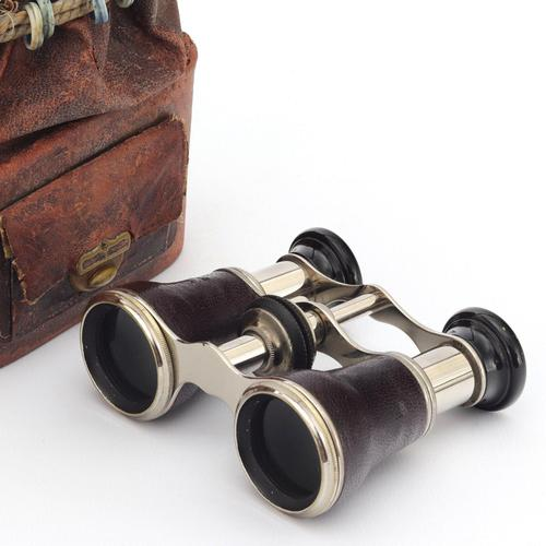 Pair of Leather and Chrome Opera Glasses with Original Carry Bag c1920s (1 of 9)