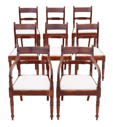 Set of 8 '6+2' Regency Mahogany Dining Chairs 19th Century c.1820 (1 of 13)