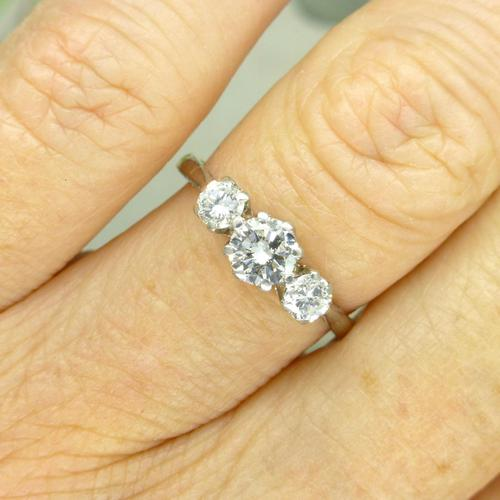 Vintage Art Deco 18ct Platinum Diamond Trilogy Engagement Ring 0.70ct c.1930 (1 of 9)