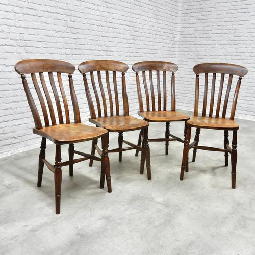 Set of 4 Antique Windsor Lathback Kitchen Chairs (1 of 5)