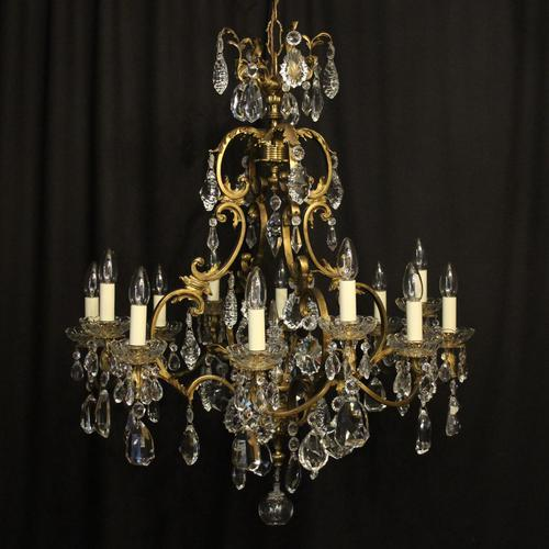 French Bronze & Crystal 12 Light Chandelier (1 of 10)