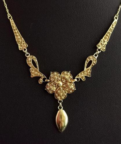 Antique Art Nouveau Drop Necklace, Floral, 22ct Gold (1 of 12)