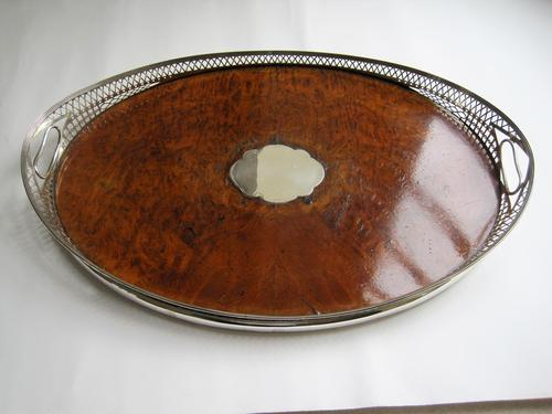 Victorian Oval Silver & Inset Walnut Gallery Tray (1 of 11)