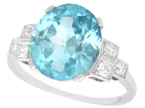 9.82ct High Zircon & 0.29ct Diamond, Platinum Dress Ring - Vintage c.1940 (1 of 9)