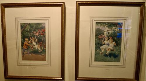 Pair Of Charming Watercolours By Karl Feiertag (1 of 5)