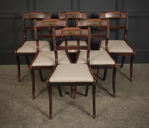 Set of 6 Regency Brass Inlaid Dining Chairs (1 of 16)