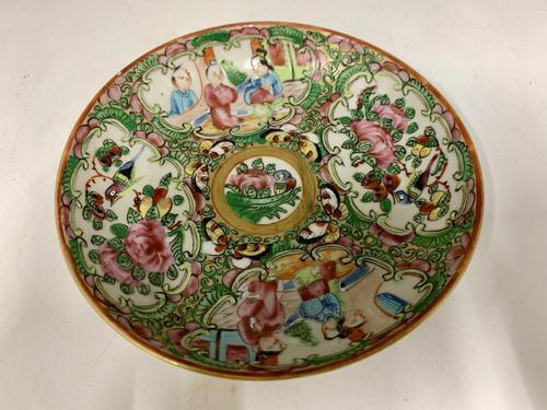 Antique Famille Rose Oriental Porcelain Saucer c.1810 (1 of 5)