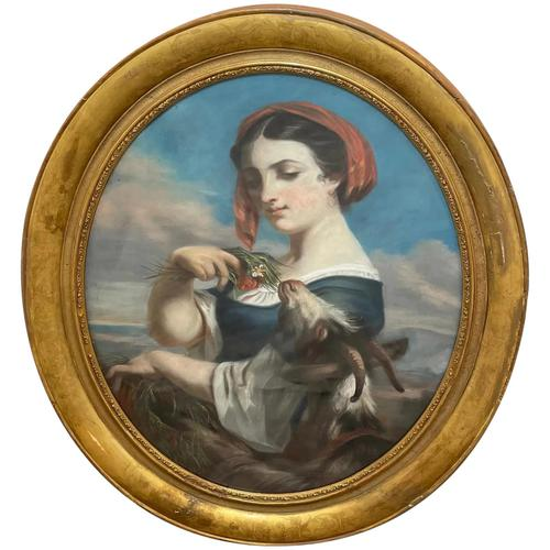"""19th Century Oval Pastel Painting French Neapolitan"""" Nubile Young Woman Feeding Goat Flowers"""" Attributed Fantin Latour Theodore (1 of 51)"""