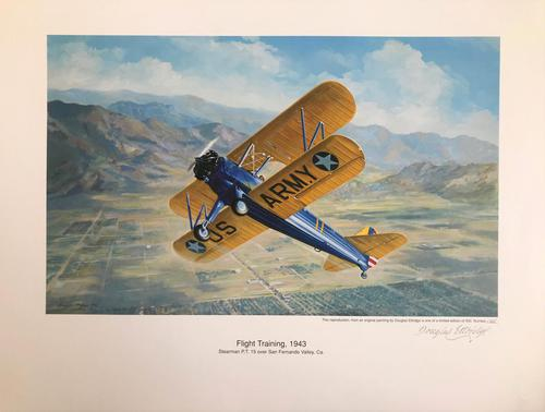 Original lithograph 'Flight training, 1943. Sherman P.T. 15over San Fernando Valley. Ca. By Douglas Ettridge 1927-2009. Signed and numbered 105/500 (1 of 2)