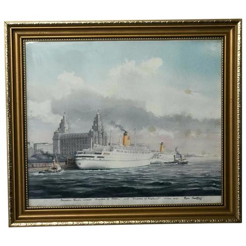 1950's Watercolour RMS Empress of England & Britain Liner Ships Liverpool Mersey (1 of 12)
