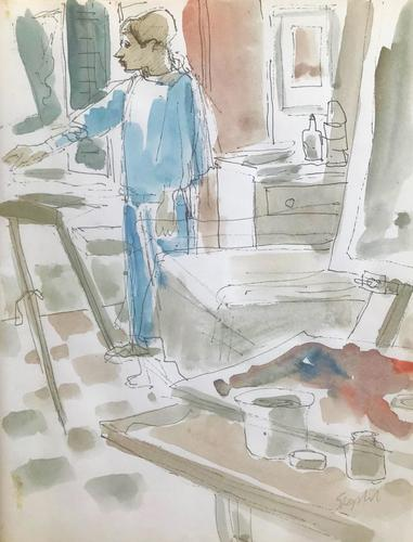 Original Watercolour 'Helen Painting in Tuscany' by Toby Horne Shepherd 1909-1993 Signed c.1965 (1 of 1)
