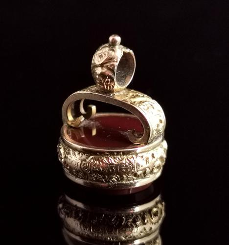 Antique Victorian 9ct Gold Carnelian Seal Fob (1 of 13)