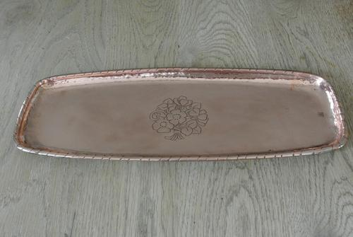 Arts & Crafts Hand Crafted Copper Tray by Hugh Wallis c.1905 (1 of 5)