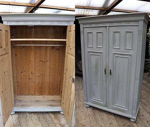 Fabulous Old Pine & Grey Painted Wardrobe / Hall / Kitchen Cupboard - We Deliver! (1 of 12)
