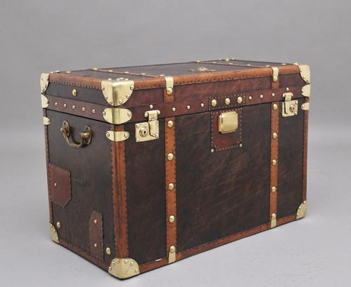 Early 20th Century Leather Bound ex Army Trunk (1 of 11)