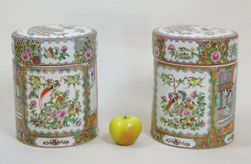 Fabulous Large Pair Chinese Famille Rose Opium Jars (1 of 12)