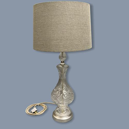 Single Tall Cut Glass Table Lamp, Rewired (1 of 4)