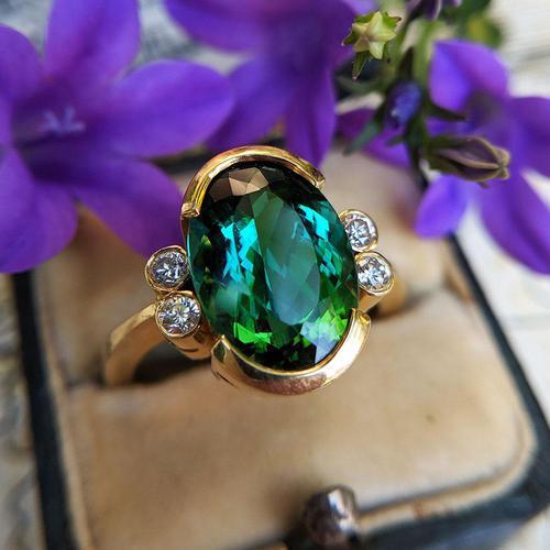 Vintage 18ct Gold Green Tourmaline & Diamond Dress Ring (1 of 13)