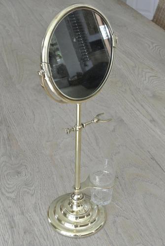Edwardian Brass Shaving Mirror Shaving Stand c.1910 (1 of 8)