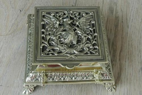 Super Large William Tonks & Sons Phoenix Brass Inkwell with Stamp Tray c.1890 (1 of 12)