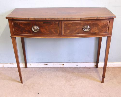 Antique Georgian Style Mahogany Two Drawer Side Table (1 of 7)