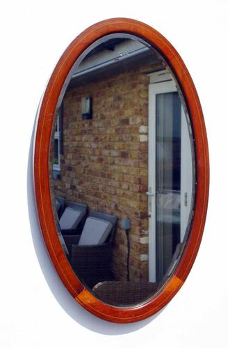 Early 20th Century Oval Overmantle Mirror 79 cm x 49 cm (1 of 11)