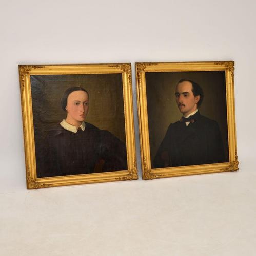 Pair of Antique Portrait Oil Paintings (1 of 12)