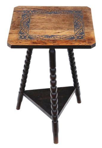 C1910 Carved Oak Tripod Occasional Side Table (1 of 4)