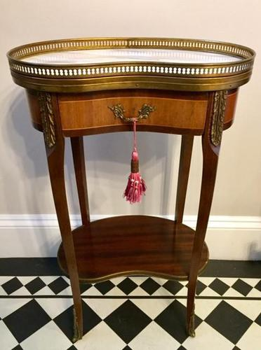 Antique French Kidney Shaped Side Table with Marble Top (1 of 10)