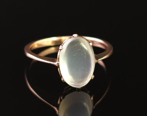 Antique Art Deco Moonstone Cabochon Ring, 9ct Gold (1 of 13)