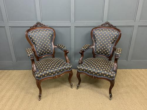 Pair of 19th Century French Rosewood Armchairs (1 of 16)