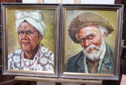 Pair of oils on canvas the odd couple Brazilian artist Chediac (1 of 10)