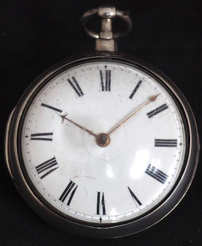 Good Antique Silver Pair Case Pocket Watch Fusee Verge Escapement Key Wind Enamel Dial Robinson London (1 of 11)
