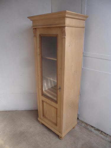 Tall Thin Antique Pine 1 Door Display Cabinet / Linen Cupboard to wax / paint (1 of 10)