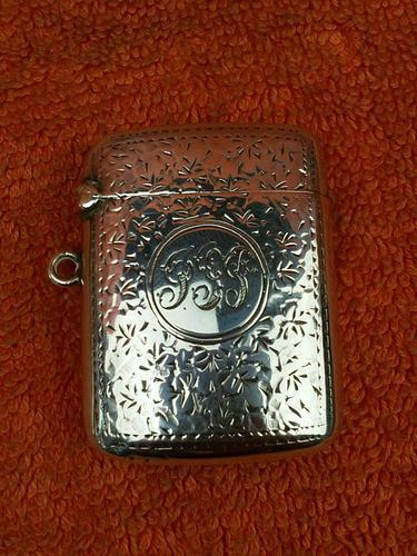 Antique Sterling Silver Hallmarked Vesta Case 1910, Samuel M Levi (1 of 9)