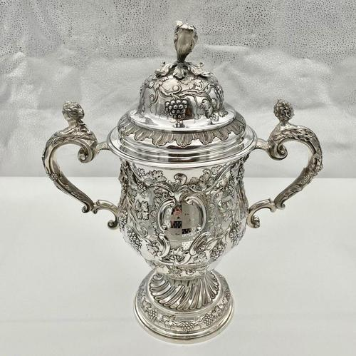 Antique George II Large Rococo Silver Cup & Cover London 1755 William Grundy (1 of 12)