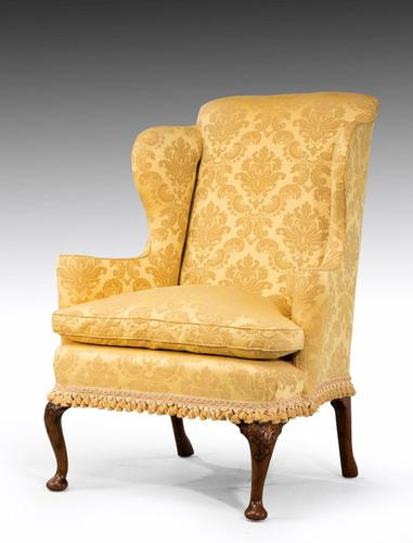 Walnut Framed Wing Chair of Small Proportions (1 of 6)