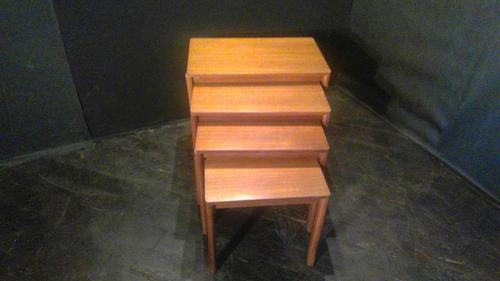 Set of 4 Swedish Designer Nest of Teak Coffee Tables (1 of 3)