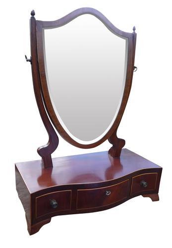 Inlaid Mahogany Serpentine Front Antique Toilet Mirror (1 of 1)