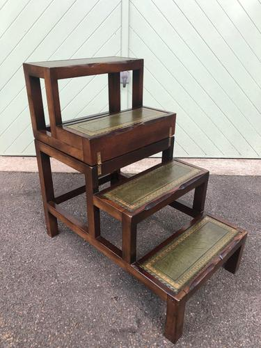 Mahogany & Leather Metamorphic Library Steps (1 of 10)