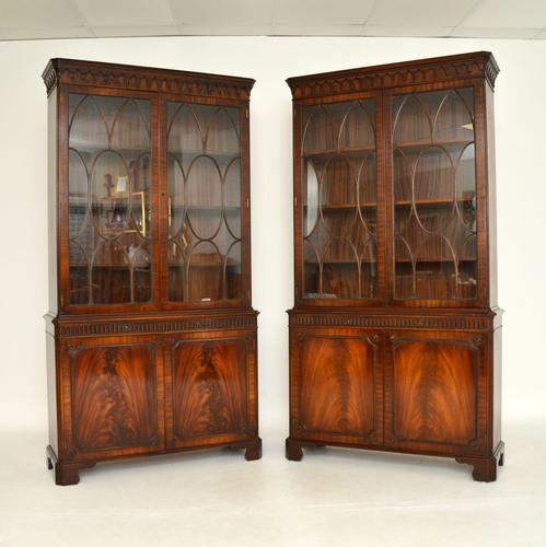 Pair of Antique Georgian Style Mahogany Bookcases (1 of 11)