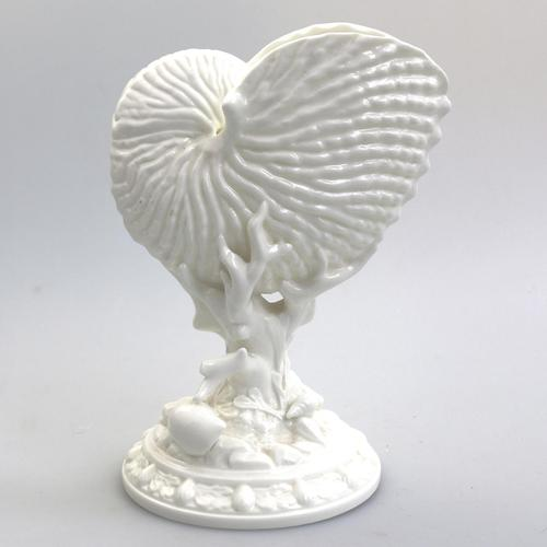 Royal Worcester : Novelty Blanc de Chine Type Porcelain Nautilus Shell Porcelain Vase C.1959 (1 of 9)