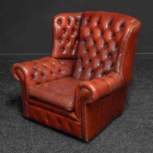 Burgundy Leather Chesterfield Wing-back Armchair (1 of 10)