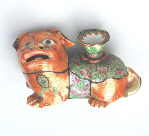 Chinese Canton Famille Rose Porcelain Buddhist Lion Candlestick 19th Century (1 of 9)