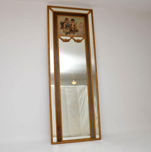 Very Tall Antique Giltwood Mirror with Oil Painting (1 of 12)