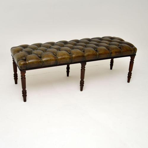 Antique Deep Buttoned  Leather & Mahogany Stool (1 of 8)