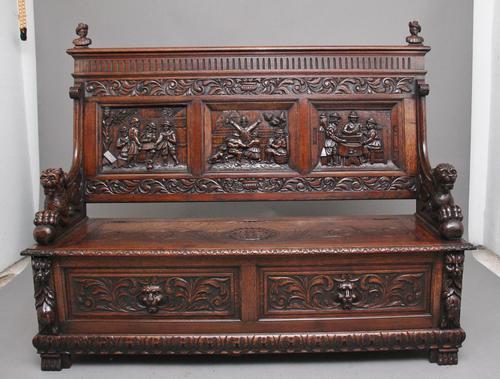 Superb Quality 19th Century Oak Box Settle (1 of 16)
